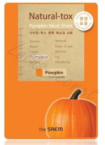 Маска-детокс тканевая тыквенная The Saem Natural-tox Pumpkin Mask Sheet