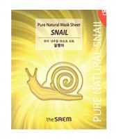 Маска тканевая восстанавливающая с муцином улитки The Saem Pure Natural Mask Sheet Snail